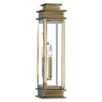 Livex Lighting Princeton 1 Light Outdoor Wall Lantern in Antique Brass 20207-01