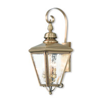 Livex 2033-01 Cambridge 3 Light 29 inch Antique Brass Outdoor Wall Lantern