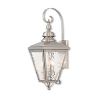 Livex 2033-91 Cambridge 3 Light 29 inch Brushed Nickel Outdoor Wall Lantern