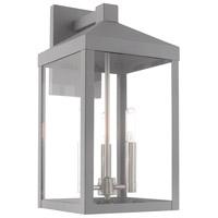 Livex 20584-80 Nyack 3 Light 18 inch Nordic Gray Wall Lantern