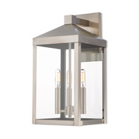 Nyack 3 Light 18 inch Brushed Nickel Outdoor Wall Lantern