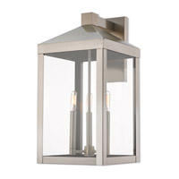 Nyack 3 Light 22 inch Brushed Nickel Outdoor Wall Lantern