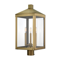 Livex 20586-01 Nyack 3 Light 24 inch Antique Brass Outdoor Post Top Lantern