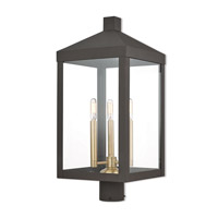 Livex 20586-07 Nyack 3 Light 24 inch Bronze Outdoor Post Top Lantern