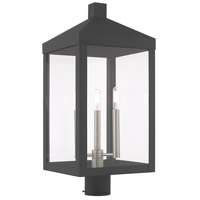 Livex 20586-76 Nyack 3 Light 24 inch Scandinavian Gray Post Top Lantern