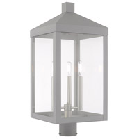 Livex 20586-80 Nyack 3 Light 24 inch Nordic Gray Post Top Lantern