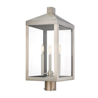 Livex 20586-91 Nyack 3 Light 24 inch Brushed Nickel Outdoor Post Top Lantern