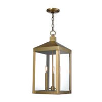 Nyack 3 Light 11 inch Antique Brass Outdoor Pendant Lantern