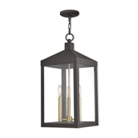 Nyack 3 Light 11 inch Bronze Outdoor Pendant Lantern