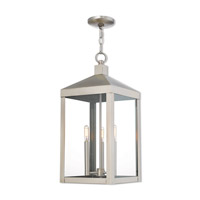 Nyack 3 Light 11 inch Brushed Nickel Outdoor Pendant Lantern