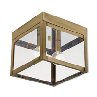 Livex 20588-01 Nyack 2 Light 8 inch Antique Brass Outdoor Ceiling Mount
