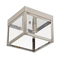 Livex 20588-91 Nyack 2 Light 8 inch Brushed Nickel Outdoor Ceiling Mount