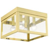 Livex 20589-12 Nyack 4 Light 11 inch Satin Brass Flush Mount Ceiling Light