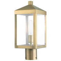 Livex 20590-01 Nyack 1 Light 15 inch Antique Brass Cluster Outdoor Post Top Lantern