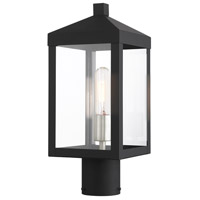 Livex 20590-04 Nyack 1 Light 15 inch Black with Brushed Nickel Cluster Outdoor Post Top Lantern