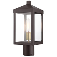 Livex 20590-07 Nyack 1 Light 15 inch Bronze with Antique Brass Cluser Outdoor Post Top Lantern