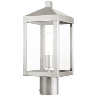 Livex 20590-91 Nyack 1 Light 15 inch Brushed Nickel Outdoor Post Top Lantern