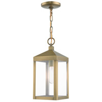 Livex 20591-01 Nyack 1 Light 6 inch Antique Brass Outdoor Pendant Lantern