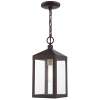 Livex 20591-07 Nyack 1 Light 6 inch Bronze with Antique Brass Cluser Outdoor Pendant Lantern