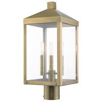 Livex 20592-01 Nyack 3 Light 20 inch Antique Brass Outdoor Post Top Lantern