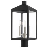 Livex 20592-04 Nyack 3 Light 20 inch Black with Brushed Nickel Cluster Outdoor Post Top Lantern