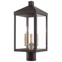Livex 20592-07 Nyack 3 Light 20 inch Bronze with Antique Brass Cluser Outdoor Post Top Lantern