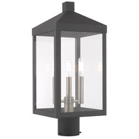 Livex 20592-76 Nyack 3 Light 20 inch Scandinavian Gray Post Top Lantern
