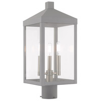 Livex 20592-80 Nyack 3 Light 20 inch Nordic Gray Post Top Lantern