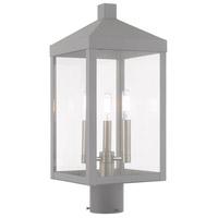 Livex 20592-80 Nyack 3 Light 20 inch Nordic Gray Post Top Lantern