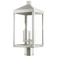 Livex 20592-91 Nyack 3 Light 20 inch Brushed Nickel Outdoor Post Top Lantern
