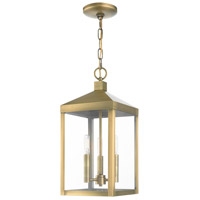 Livex 20593-01 Nyack 3 Light 8 inch Antique Brass Outdoor Pendant Lantern