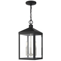 Livex Lighting 20593-04 Nyack 3 Light 8 inch Black with Brushed Nickel Cluster Outdoor Pendant Lantern