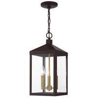 Livex 20593-07 Nyack 3 Light 8 inch Bronze with Antique Brass Cluser Outdoor Pendant Lantern