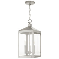 Livex 20593-91 Nyack 3 Light 8 inch Brushed Nickel Outdoor Pendant Lantern