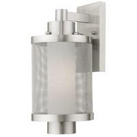 Livex 20682-91 Nottingham 1 Light 15 inch Brushed Nickel Outdoor Wall Lantern