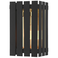 Livex 20751-04 Greenwich 1 Light 10 inch Black with Satin Brass Accents Outdoor Wall Lantern