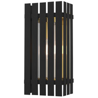 Livex 20753-04 Greenwich 1 Light 17 inch Black with Satin Brass Accents Outdoor Wall Lantern