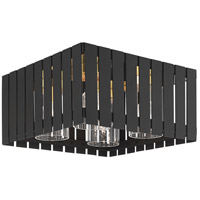 Livex 20754-04 Greenwich 4 Light 13 inch Black with Satin Brass Accents Outdoor Flush Mount