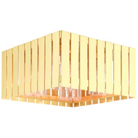 Livex 20754-12 Greenwich 4 Light 13 inch Satin Brass Outdoor Flush Mount