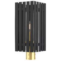 Livex 20756-04 Greenwich 1 Light 20 inch Black with Satin Brass Accents Outdoor Post Top Lantern