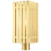 Livex 20756-12 Greenwich 1 Light 20 inch Satin Brass Outdoor Post Top Lantern