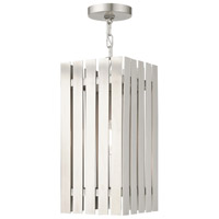 Livex 20757-91 Greenwich 1 Light 8 inch Brushed Nickel Outdoor Pendant Lantern