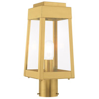 Livex 20853-12 Oslo 1 Light 15 inch Satin Brass Post Top Lantern
