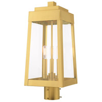 Livex 20856-12 Oslo 3 Light 20 inch Satin Brass Post Top Lantern