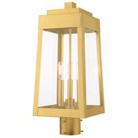 Livex 20856-12 Oslo 3 Light 20 inch Satin Brass Post Top Lantern