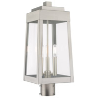 Livex Lighting 20856-91 Oslo 3 Light 20 inch Brushed Nickel Outdoor Post Top Lantern