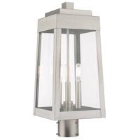 Livex 20856-91 Oslo 3 Light 20 inch Brushed Nickel Post Top Lantern