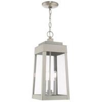 Livex 20857-91 Oslo 3 Light 8 inch Brushed Nickel Pendant Lantern Ceiling Light