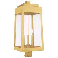 Livex 20859-12 Oslo 3 Light 25 inch Satin Brass Post Top Lantern