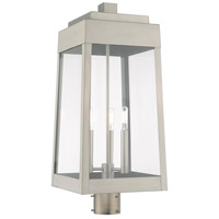 Livex 20859-91 Oslo 3 Light 25 inch Brushed Nickel Outdoor Post Top Lantern